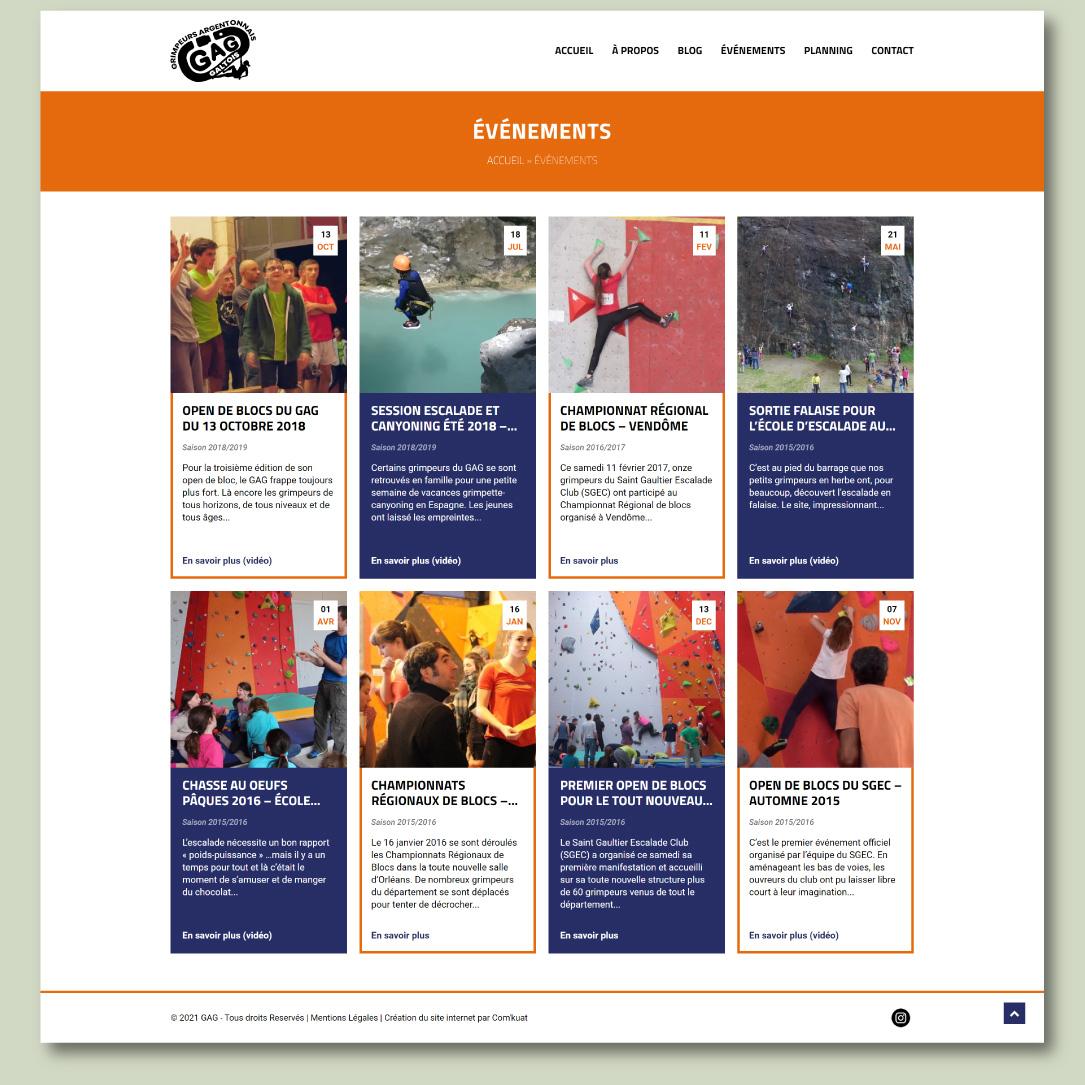Site internet pour un club de sport