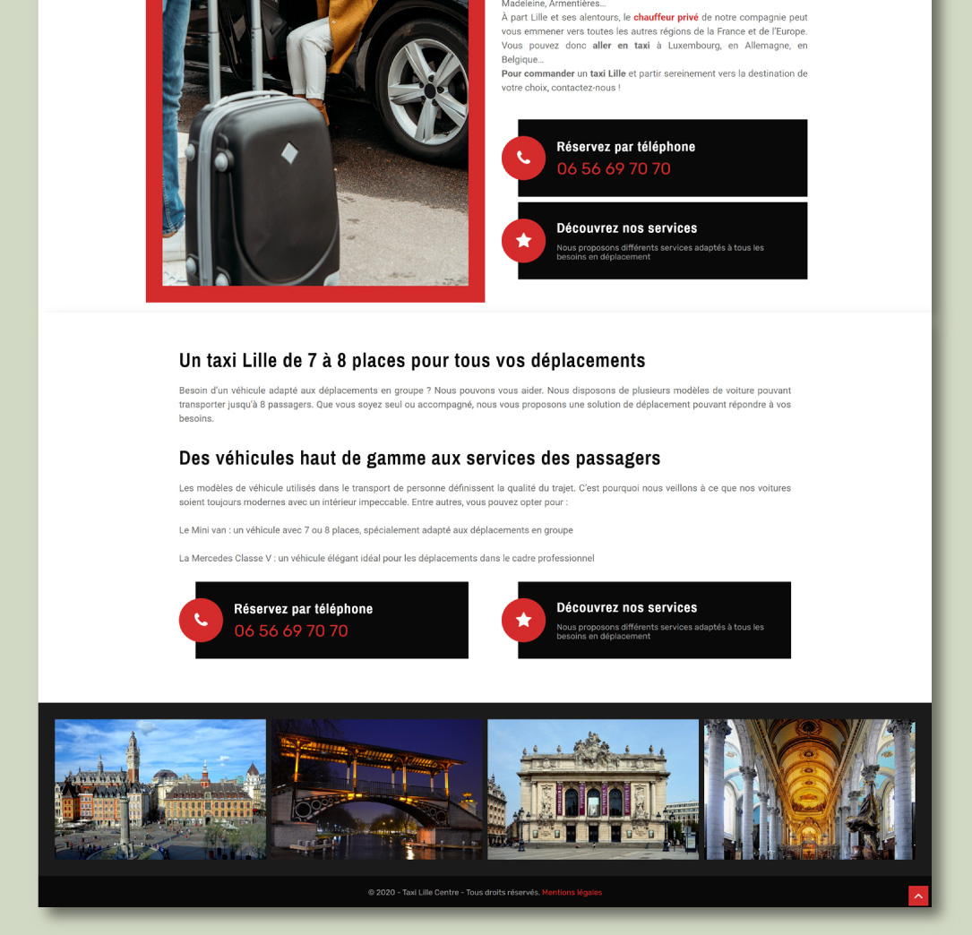 Site internet pour une société de taxis