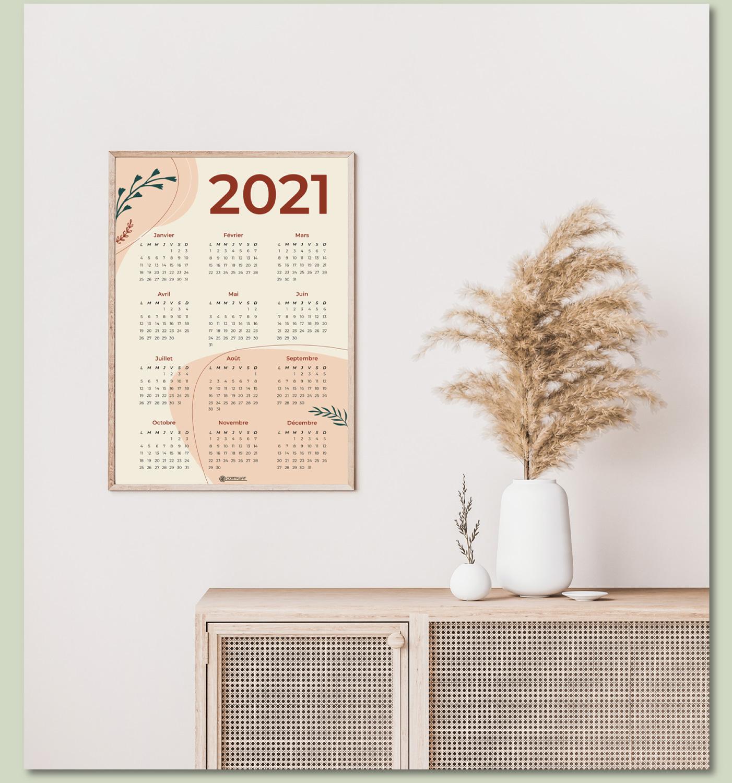 Calendrier 2021 à imprimer en téléchargement gratuit