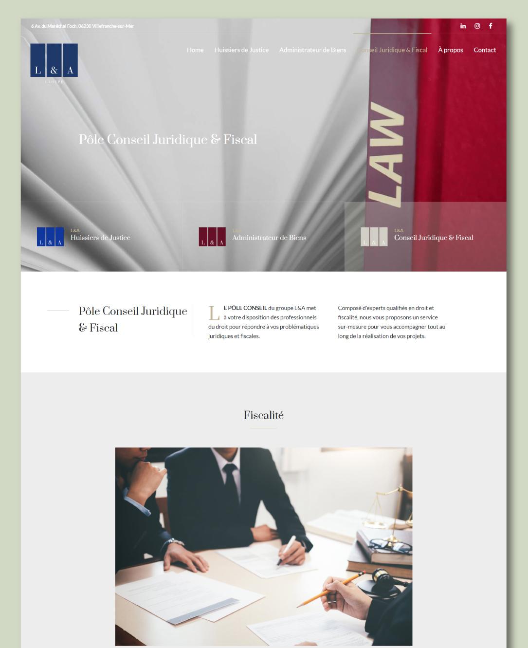 Site internet pour un groupe de professionnels du droit