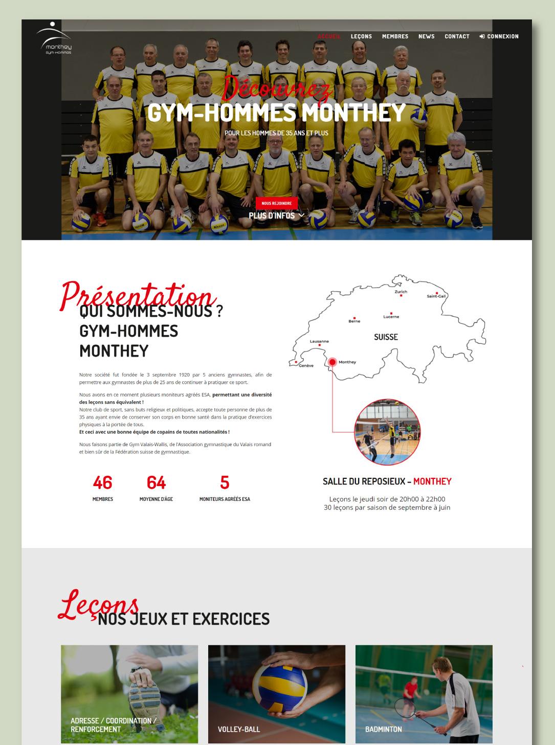 Site internet pour un club de gymnastique